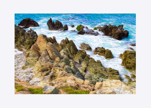 """Beach Rocks in Puerto Vallara, Mexico"" Matted Fine Art Print"