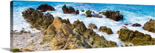 "Load image into Gallery viewer, ""Beach Rocks in Puerto Vallarta, Mexico"" 20x60 Panoramic Fine Art Canvas"