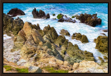"Load image into Gallery viewer, ""Beach Rocks on Puerto Vallarta, Mexico"" Fine Art Canvas"