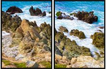 "Load image into Gallery viewer, ""Beach Rocks in Puerto Vallarta, Mexico"" Diptych (dual-panel) Fine Art Canvas"
