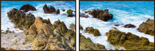"Load image into Gallery viewer, ""Beach Rocks in Puerto Vallarta, Mexico"" 40x120 Diptych Panoramic Fine Art Canvas"