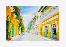 "Load image into Gallery viewer, ""Colonial Street - Cartagena De Indias, Colombia"" Matted Fine Art Print"