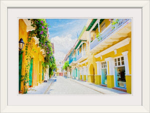 """Colonial Street - Cartagena de Indias, Colombia"" Framed Fine Art Expression"
