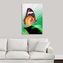 "Load image into Gallery viewer, ""Malay Lacewing Butterfly 2"" Fine Art Metal Print"