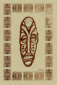 """African Mask - Rendition 1"" Fine Art Metal Print"