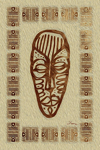 """African Mask - Rendition 3"" Fine Art Metal Print"