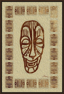 """African Mask - Rendition 6"" Fine Art Canvas"