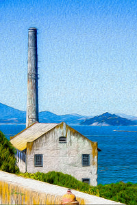 """Old Building at Alcatraz Island Prison"" Fine Art Metal Print"