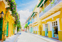 "Load image into Gallery viewer, ""Colonial Street - Cartagena De Indias, Colombia"" Fine Art Metal Print"