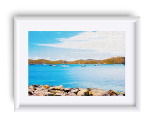 """Sailboat Adventure in San Juan, Puerto Rico"" Matted Fine Art Print"