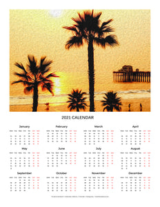"""Sunset at the Beach in Oceanside, California"" 17x22 inch 2021 Fine Art Calendar"