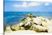 "Load image into Gallery viewer, ""The Jetty at Seven Mile Beach in Grand Cayman"" Fine Art Canvas"