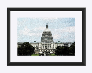 """US Capitol Building"" Matted Fine Art Print"