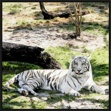 "Load image into Gallery viewer, ""White Tiger at Rest - Left"" Fine Art Canvas"