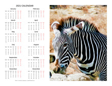 "Load image into Gallery viewer, ""Zebra 2"" 17x22 inch 2021 Fine Art Calendar"