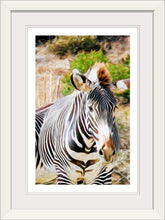 "Load image into Gallery viewer, ""Zebra 1"" Framed Fine Art Expression"