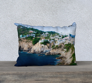 """Cliffs in Acapulco 1"" 20""x14"" Fine Art Pillow Case"