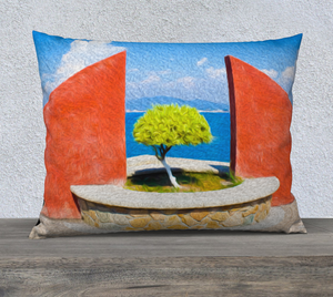 """Tranquil Surroundings"" 26""x20"" - Manzanillo, Colima Fine Art Pillow Case"