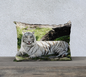 """White Tiger At Rest - R"" 20x14 Pillow Case"