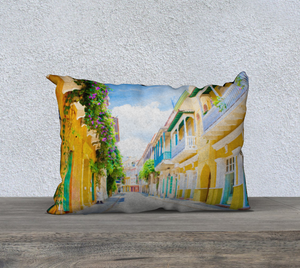 """Colonial Street - Cartagena De Indias, Colombia"" 20""x14"" Fine Art Pillow Case"