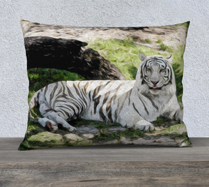 """White Tiger At Rest"" 26""x20"" Fine Art Pillow Case"