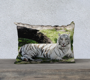 """White Tiger At Rest - L"" 20x14 Pillow Case"