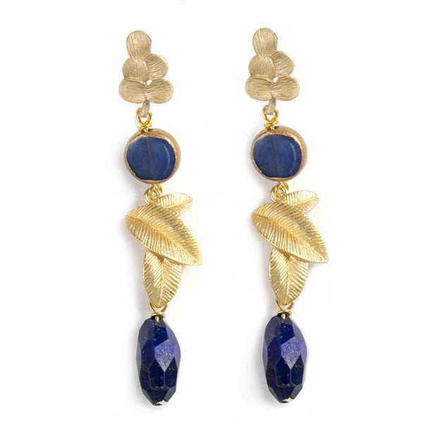 3 leaves, lapis lazuli earrings