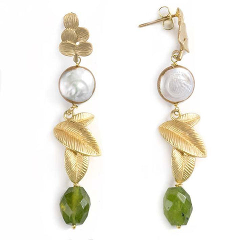 3 leaves, variscite earrings