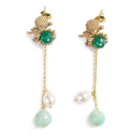 Flower bunch, amazonite, pearl and green onyx earrings