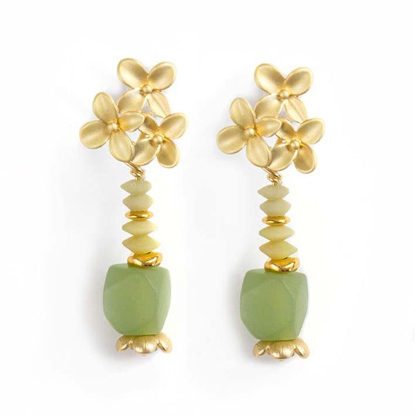 Flowers, Jade & serpentine earrings