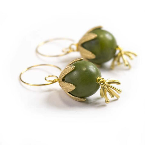 Green Bell, serpentine earrings