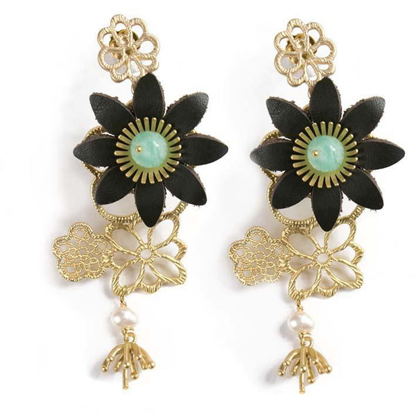 Daisy filigree, amazonite earrings