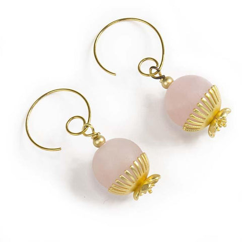 Dandelian, rose quartz earrings