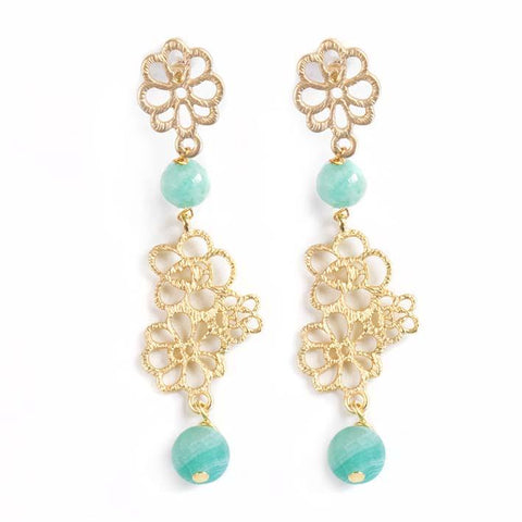 Flower filigree, amazonite earrings