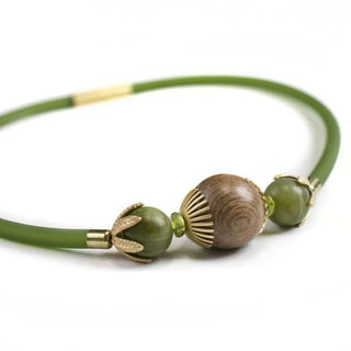 Green Bell, serpentine & rosewood necklace L