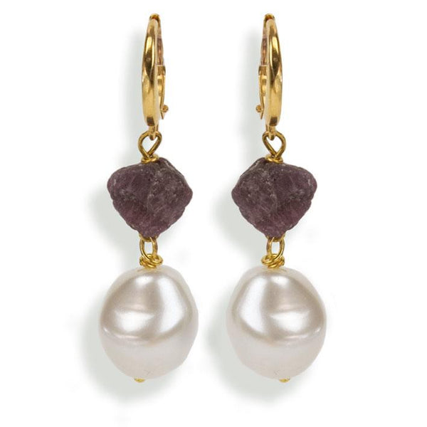 Oorbellen Pearls Ruby