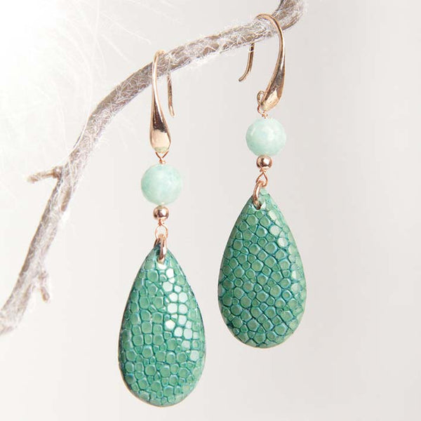 Drop Stingray oorbellen, turquoise ST