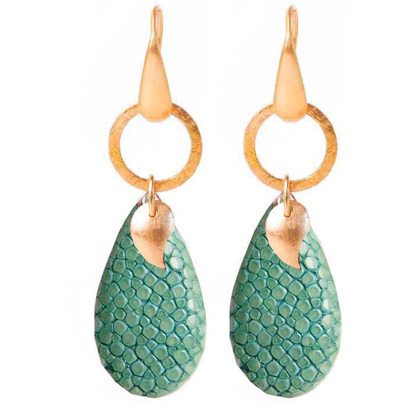 Drop Stingray oorbellen, turquoise RI