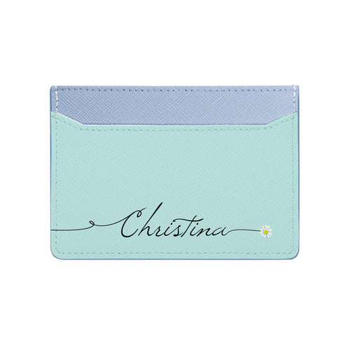 Bisu Bisu Card Holder - Baby Blue Saffiano Leather - (Signature, Daisy)