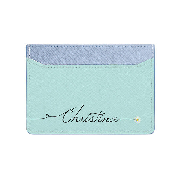 Card Holder - Baby Blue Saffiano Leather - (Signature, Daisy)
