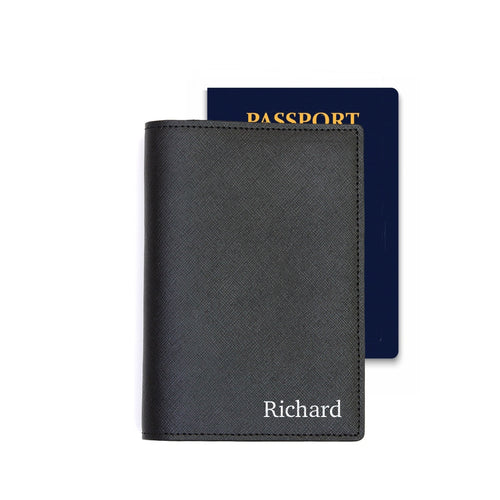 Bisu Bisu Passport Holder - Black Saffiano Leather - (Standard)