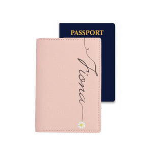Passport Holder - Pink Saffiano Leather - (Signature, Daisy)