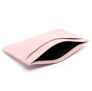 Bisu Bisu Card Holder - Pink Saffiano Leather - (Signature, red Rose)