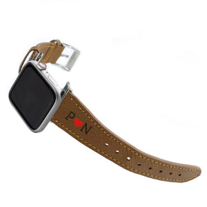 Apple Watchband - Brown Saffiano Leather - (Watchbands)