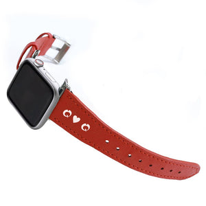 Apple Watchband - Red Saffiano Leather - (Watchbands)