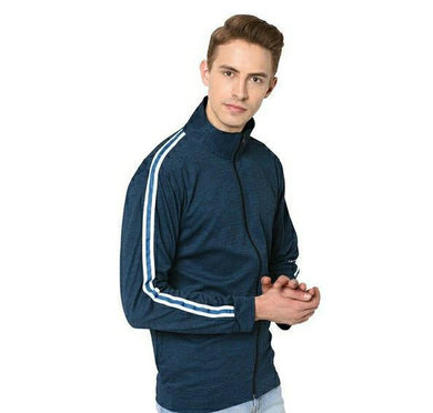 Polyester Elastane Blend Men's Blue Jacket