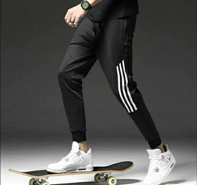 Black Track Pants with White Stripes