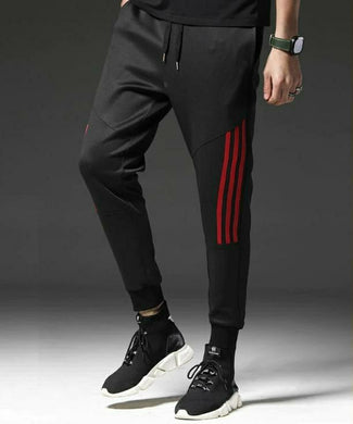 Black Track Pants with red Stripes