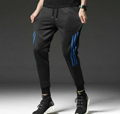 Black Track Pants with Blue Stripes