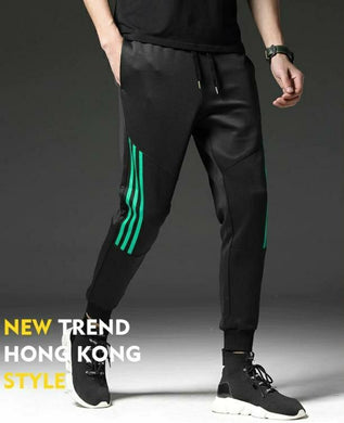 Black Track Pants with Green Stripes